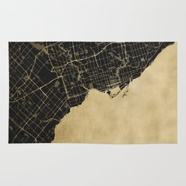 Toronto Gold and Black Street Map Rug