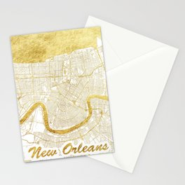 New Orleans Map Gold Stationery Cards