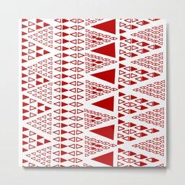Zig Zag Pattern -  brick red Metal Print