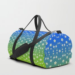 Spring Floral on blue and green ombre Duffle Bag