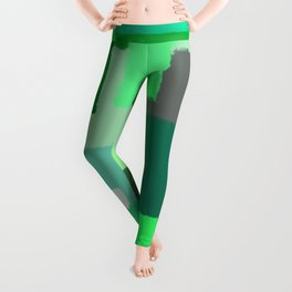 Green Patchwork Squares Leggings