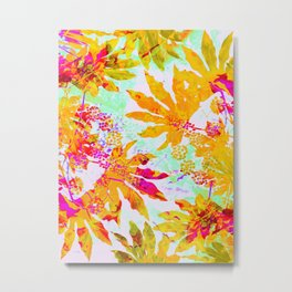 Tropical Adventure - Neon Orange, Pink and Mint Metal Print