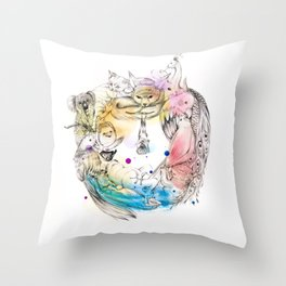 Animals Wreath Throw Pillow