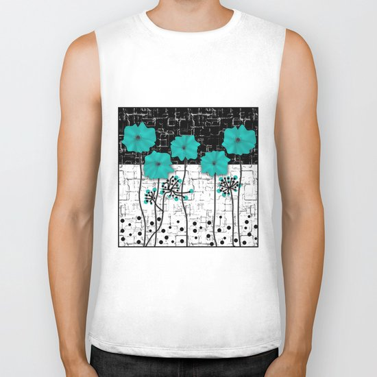 Turquoise flowers on black and white background . Biker Tank