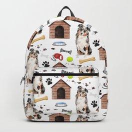 Australian Shepherd Half Drop Repeat Pattern Backpack