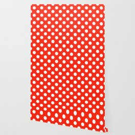 Red (RYB) - red - White Polka Dots - Pois Pattern Wallpaper