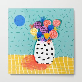 Legit - throwback abstract floral still life memphis retro 80s style vase with flowers Metal Print