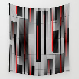 Off the Grid - Abstract - Gray, Black, Red Wall Tapestry