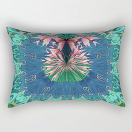 Lush Floral Abstract in Aqua, Moss and Light Coral Rectangular Pillow
