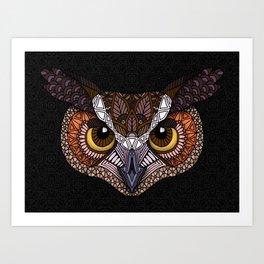 Great Horned Owl Head Art Print