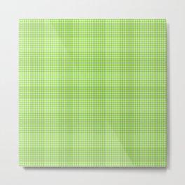 Chartreuse Gingham Metal Print