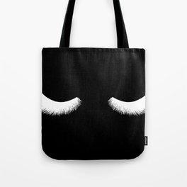 black and white eyelashes Tote Bag