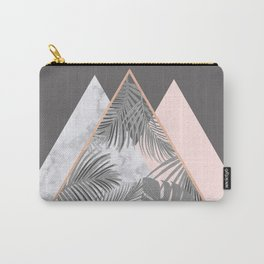 BLUSH GRAY COPPER MARBLE GEOMETRIC PATTERN Carry-All Pouch