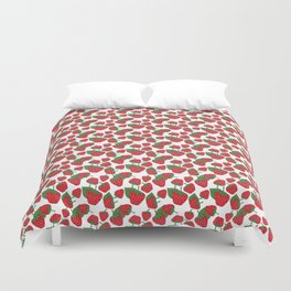 Strawberries - Summer Doodle Pattern Duvet Cover