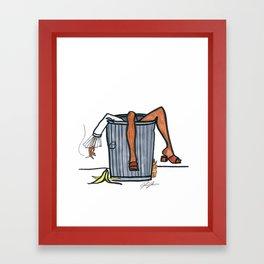 Trash Can Girl Framed Art Print