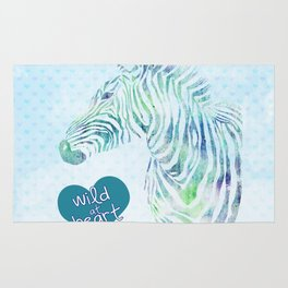Zebra Watercolor Wild At Heart Blue Teal Turquoise Rug