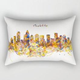 Charlotte Watercolor Skyline Rectangular Pillow