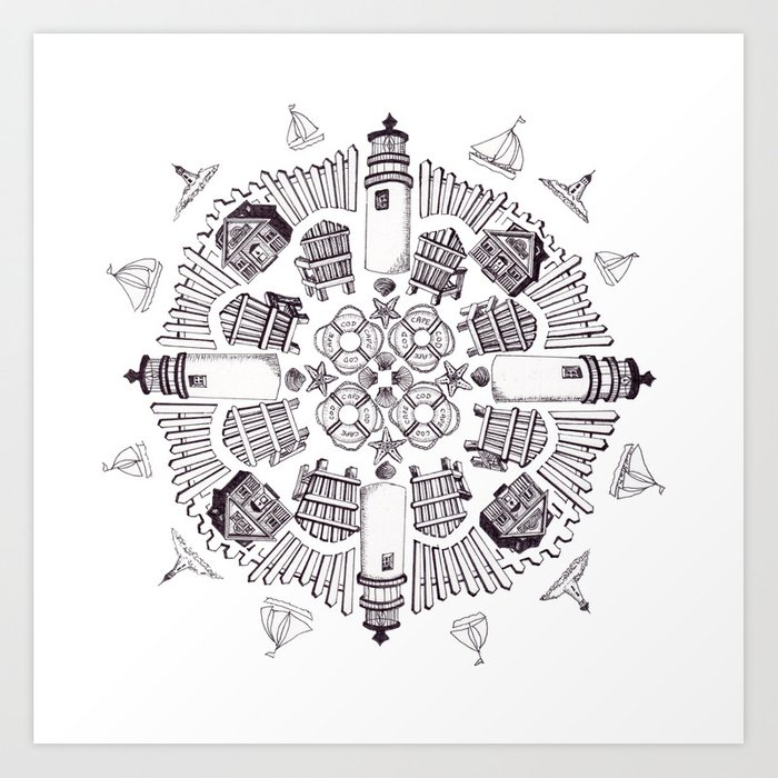 Cape Cod Mandala (black on white) Art Print