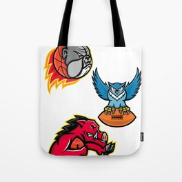 American Football and Basketball Wildlife Sports Mascot Collection Tote Bag