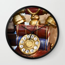 Vintage telephone with dial Wall Clock