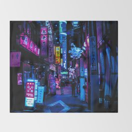 Tokyo's Moody Blue Vibes Throw Blanket