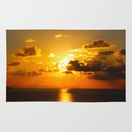 sunset on sea Rug