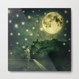 rooftops mystery night Metal Print