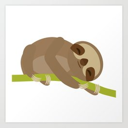 funny and cute Three-toed sloth on green branch Art Print