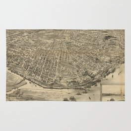 Vintage Pictorial Map of Tacoma WA (1893) Rug