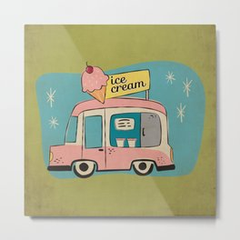 Ice Cream Truck on Avocado Green - Kitschy Kitchen Decor Metal Print