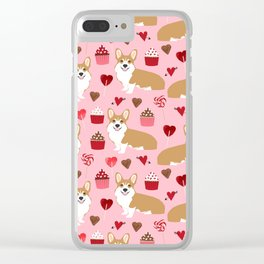 Corgi cupcakes valentines day cute love hearts dog breed corgi crew welsh corgis gifts Clear iPhone Case