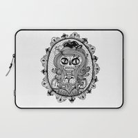 calavera Laptop Sleeves featuring Mrs Calavera by Cobrinha