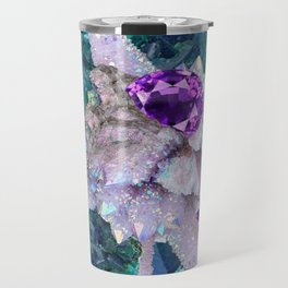 PURPLE AMETHYST  AQUAMARINE QUARTZ CRYSTAL ART Travel Mug