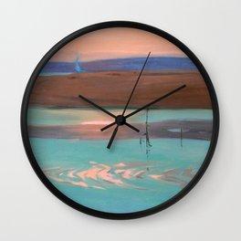 Blue Estuary maritime coastal beach sunset landscape painting by Julius Olsson Wall Clock