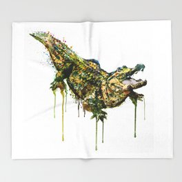 Alligator Watercolor Painting Throw Blanket