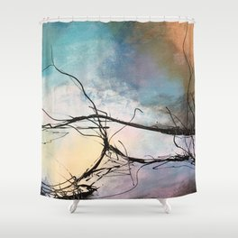 Heaven and Hell Abstract Painting by Jodi Tomer Cloudy Painting Sticks Shower Curtain