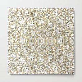 Golden Mandala in Cream Colored Background Metal Print