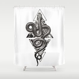 Snake Marbling and Triangles Shower Curtain