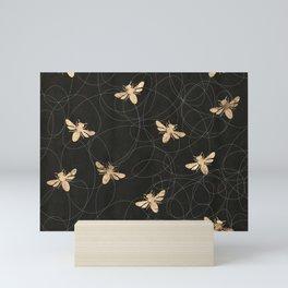 Busy Bees (Black) Mini Art Print