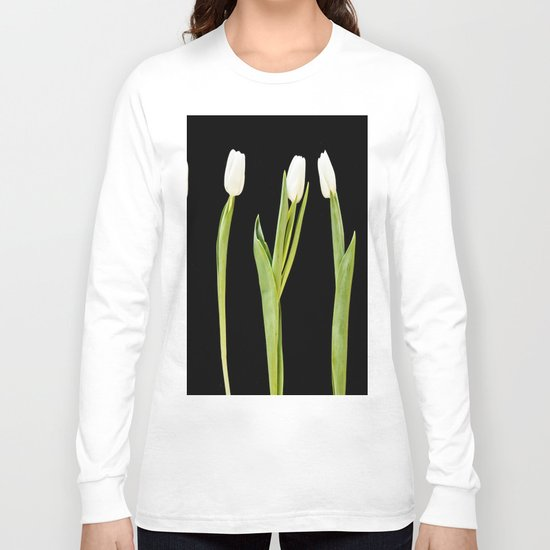 White tulips on a black background Long Sleeve T-shirt