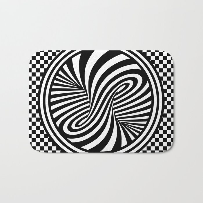 Black & White Twist & Check Design Bath Mat