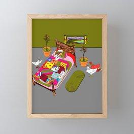 A Farm Girl Sleeps and Her Lady Chickens Play Framed Mini Art Print