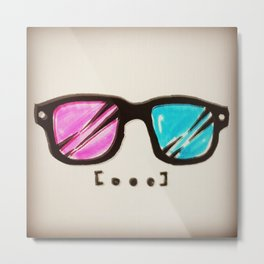 3D Hipster Glasses Metal Print