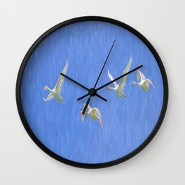 Swans Flying Art Wall Clock