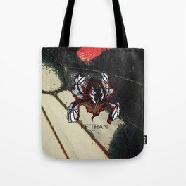 T.F TRAN RED BUTTERFLY IRIS Tote Bag