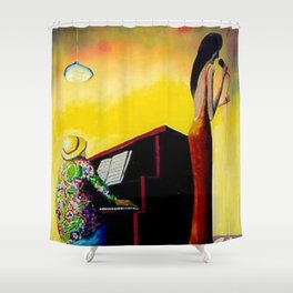 African American Masterpiece 'Moonlight Jazz and Piano' by Benny Andrews Shower Curtain