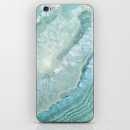 """Aquamarine Pastel and Teal Agate Crystal"" iPhone Skin"