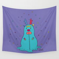 snowman Wall Tapestries featuring snowman by PINT GRAPHICS