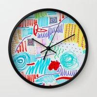 doodle Wall Clocks featuring DOODLE by austeja saffron
