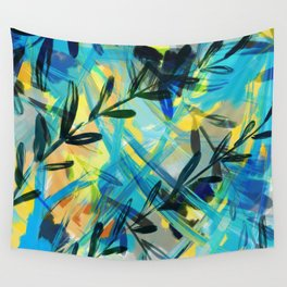 Tropical Sunrise through Leaves Wall Tapestry